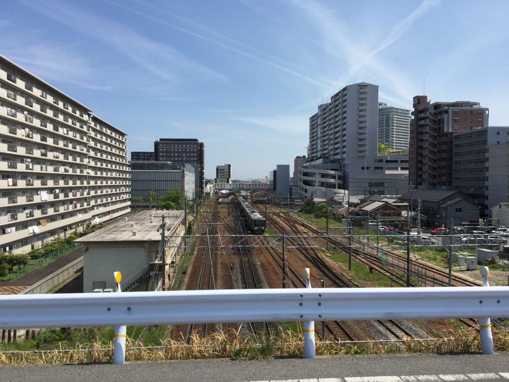 草津駅付近の線路画像